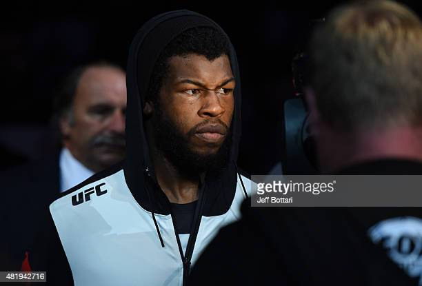 Dominique Steele enters the arena before his welterweight bout against Zak Cummings during the UFC event at the United Center on July 25, 2015 in...