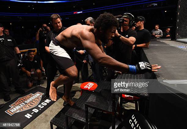 Dominique Steele enters the Octagon before his welterweight bout against Zak Cummings during the UFC event at the United Center on July 25, 2015 in...