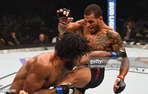 Dominique Steele punches Danny Roberts of England in their welterweight bout during the UFC 197 event inside MGM Grand Garden Arena on April 23, 2016...