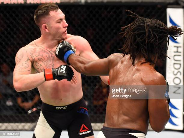 Dominique Steele punches Luke Jumeau of Australia in their welterweight fight during the UFC Fight Night event at the Spark Arena on June 11, 2017 in...
