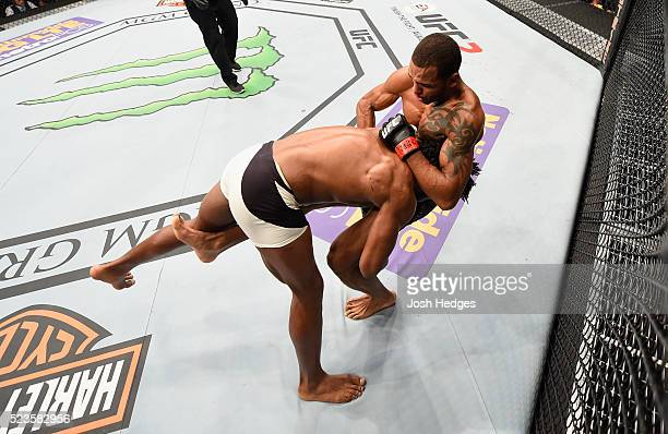 Dominique Steele takes down Danny Roberts of England in their welterweight bout during the UFC 197 event inside MGM Grand Garden Arena on April 23,...
