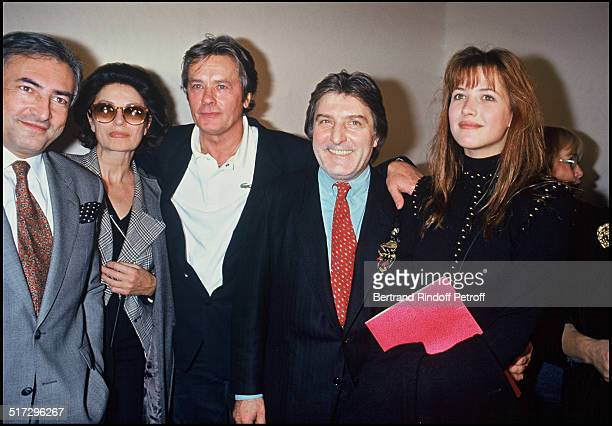 Dominique Strauss Kahn Anouk Aimee Alain Delon Emmanuel Ungaro and Sophie Marceau during the ready to wear fashion show spring summer 1993 collection...