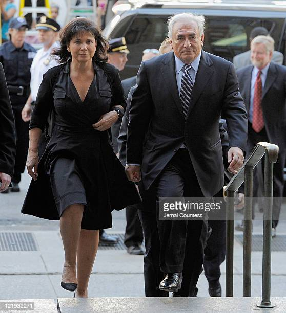 Dominique StraussKahn and Anne Sinclair arrive at Manhattan Criminal Court to attend a status hearing on the sexual assault charges against...