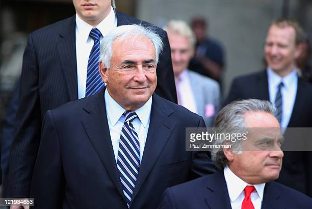 Dominique StraussKahn and Benjamin Brafman depart Manhattan Criminal Court after attending a status hearing on the sexual assault charges against...