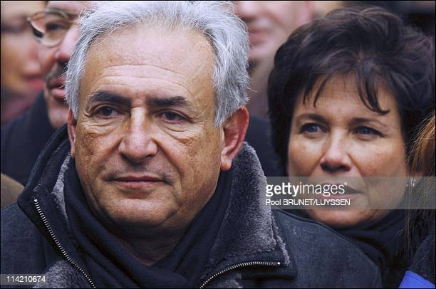 Dominique StraussKahn and wife Anne Sinclair at the demonstration against racism and antisemitism in memory of Ilan Halimi in Paris France on...