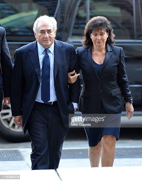 Dominique StraussKahn and wife Anne Sinclair walk up the steps of Manhattan Supreme Court on June 6 2011 in New York City Former IMF chief Dominique...