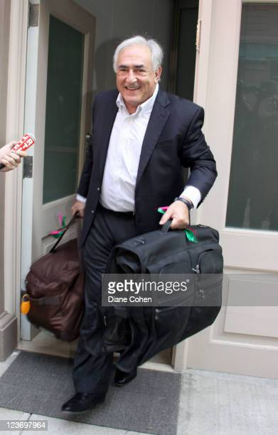 Dominique StraussKahn departs his rented townhouse in the Tribeca neighborhood of Manhattan on September 3 2011 in New York City StraussKahn and his...