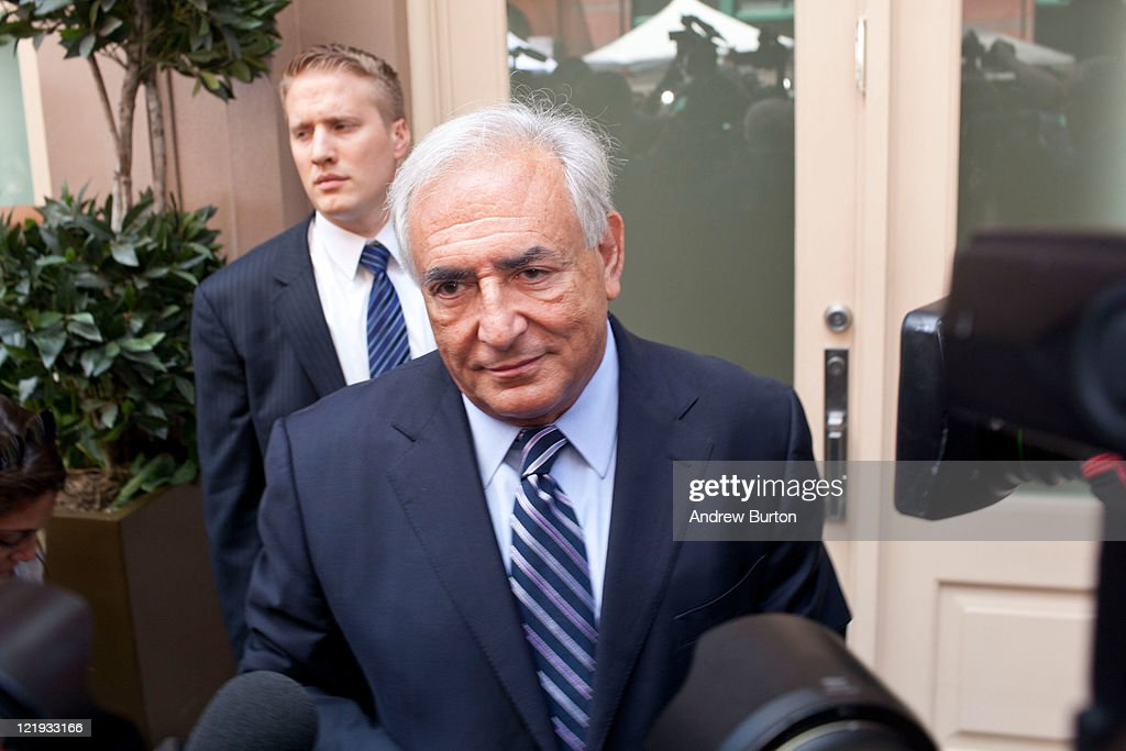 Dominique Strauss-Kahn, former head of the International Monetary Fund, speaks to reporters outside his residence at 153 Franklin Street on August 23, 2011 in New York City. Strauss-Kahn had the charges of sexual assault against him dropped earlier in the day at a New York court.