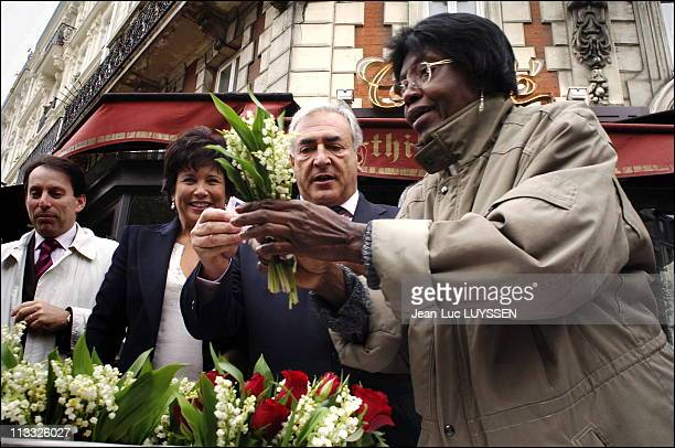 Dominique Strauss-Kahn Lays A Wreath Behind The Statue Of Leon Blum And Takes The Muguet Of 1St May - On May, 2006 - In Paris, France - Here,...
