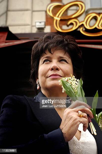 Dominique Strauss-Kahn Lays A Wreath Behind The Statue Of Leon Blum And Takes The Muguet Of 1St May - On May, 2006 - In Paris, France - Here, Anne...