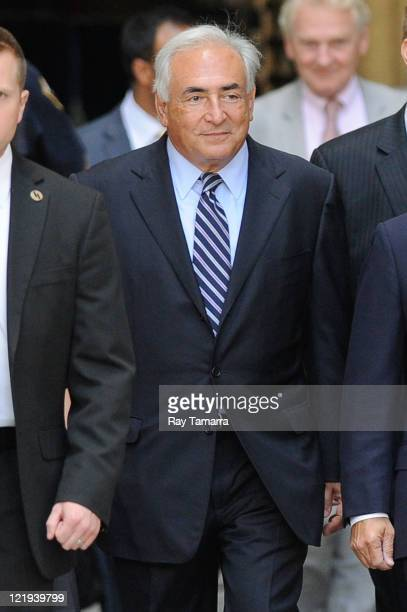 Dominique StraussKahn leaves Manhattan Criminal Court after attending a status hearing on the sexual assault charges against StraussKahn on August 23...