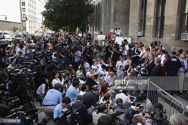 Dominique StraussKahn`s lawyers speak to the media outside of a Manhattan court on August 23 2011 in New York City The Manhattan District Attorney's...