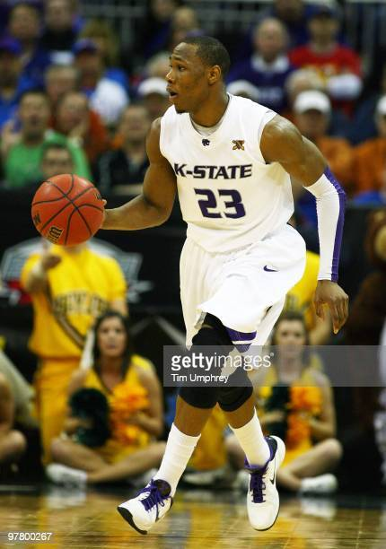 Dominique Sutton of the Kansas State Wildcats brings the ball up the court against the Baylor Bears during the semifinals of the 2010 Phillips 66 Big...