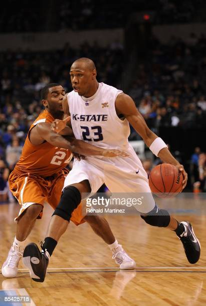 Dominique Sutton of the Kansas State Wildcats during the Phillips 66 Big 12 Men's Basketball Championship Quarterfinals at the Ford Center March 12,...