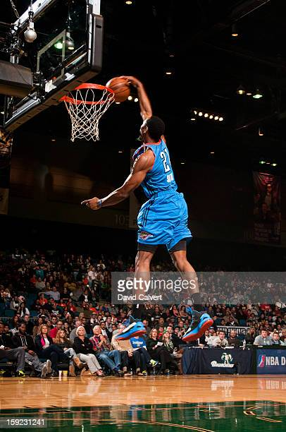 Dominique Sutton of the Tulsa 66ers competes in the Slam Dunk Contest during the 2013 NBA DLeague Showcase on January 9 2013 at the Reno Events...