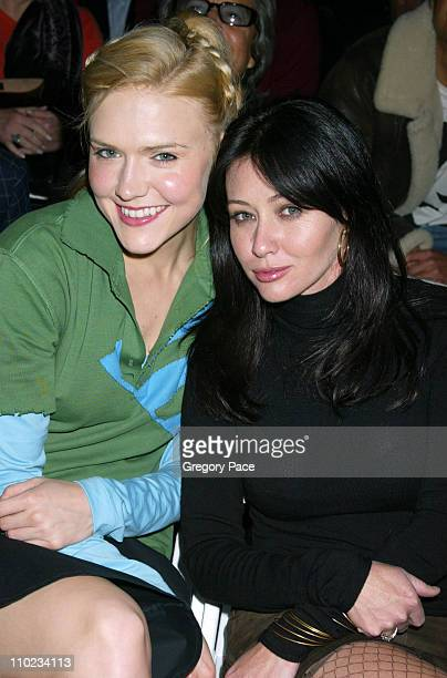 Dominique Swain and Shannen Doherty during Olympus Fashion Week Fall 2005 Joseph Abboud Backstage and Front Row at Bryant Park Tents in New York City...