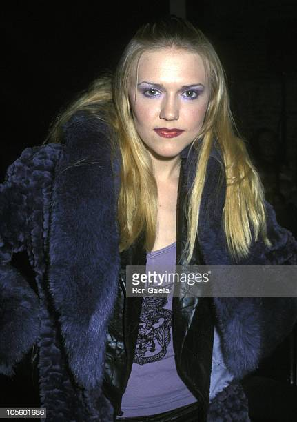Dominique Swain during Fashion Week Spring 2002 Marc Bouwer at Puck Building in New York City New York United States