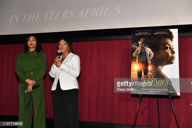 Dominique Telson and Taraji P Henson attends 'The Best Of Enemies' Atlanta screening at Regal Atlantic Station on March 20 2019 in Atlanta Georgia