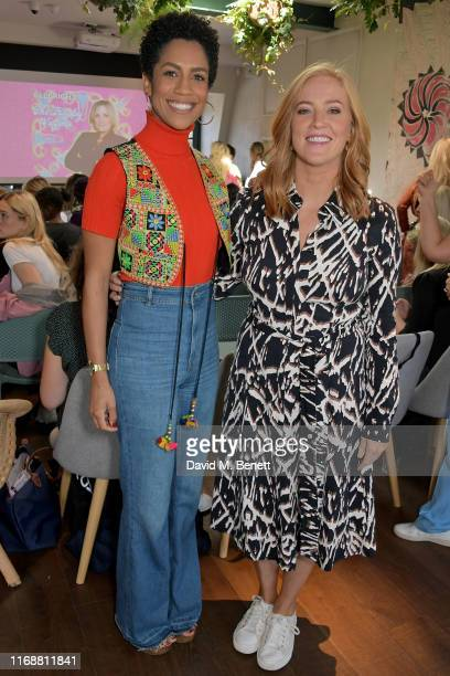 """Dominique Tipper and Sarah-Jane Mee attend a live recording of Mika Simmons' new podcast """"The Happy Vagina"""" at The AllBright Mayfair on September 17,..."""