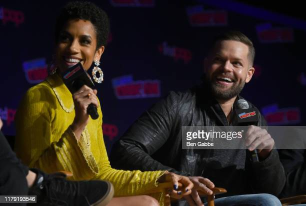 Dominique Tipper and Wes Chatham speak onstage during the Amazon Prime Video Takeover featuring Tom Clancy's Jack Ryan and The Expanse at New York...