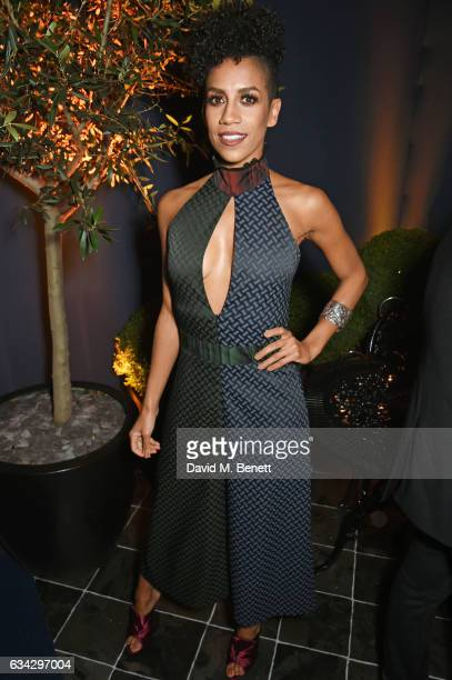 Dominique Tipper attends the dunhill and Dylan Jones preBAFTA dinner and cocktail reception celebrating Gentlemen in Film at Bourdon House on...