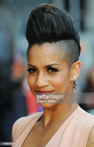Dominique Tipper attends the UK film premiere of 'Fast Girls' at Odeon West End on June 7 2012 in London England