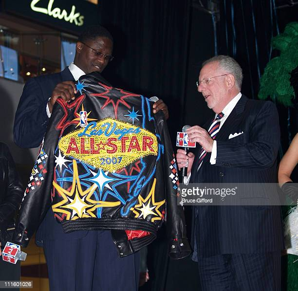 Dominique Wilkins and Oscar Goodman during NBA Legends Unveil 2007 NBA All-Star Logo at Fashion Show Mall in Las Vegas, NV, United States.