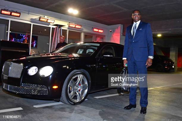 Dominique Wilkins of the Atlanta Hawks arrive to the arena before the game against the Denver Nuggets on January 6, 2020 at State Farm Arena in...