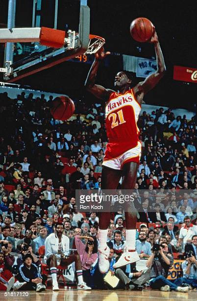 Dominique Wilkins of the Atlanta Hawks goes for a dunk during the Gatorade Slam Dunk Championship during NBA AllStar Weekend NOTE TO USER User...