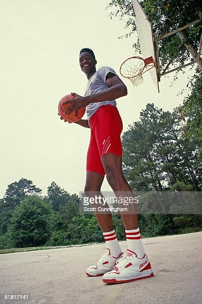 Dominique Wilkins of the Atlanta Hawks poses for a portrait during a photo shoot circa 1988 in Atlanta Georgia NOTE TO USER User expressly...