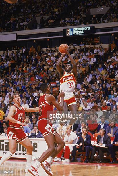 Dominique Wilkins of the Atlanta Hawks shoots the ball during the NBA game against the Chicago Bulls at the Omni in Atlanta Georgia on January 1 1988...