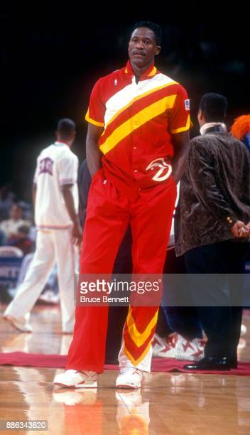 Dominique Wilkins of the Atlanta Hawks stands on the court during warmups prior to an NBA game against the Philadelphia 76ers on February 27 1991 at...