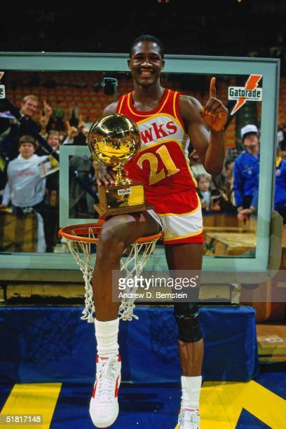 Dominique Wilkins of the Atlanta Hawks wins the Gatorade Slam Dunk Championship during the 1985 NBA All-Star Weekend at the Hoosier Dome on February...