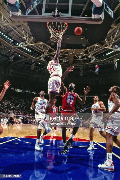 Dominique Wilkins of the Eastern Conference AllStars goes for a block against the Western Conference AllStars during the 1991 NBA AllStar game on...