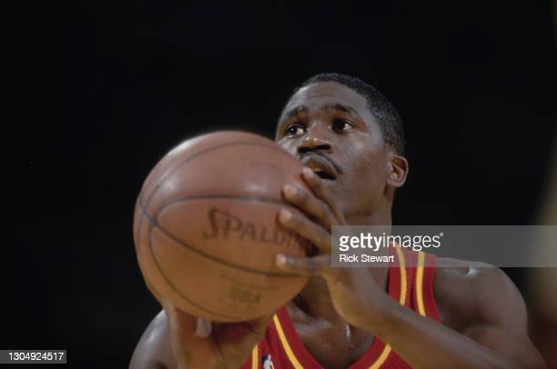 Dominique Wilkins, Small Forward for the Atlanta Hawks prepares to shoot a free throw during the NBA Pacific Division basketball game against the Los...