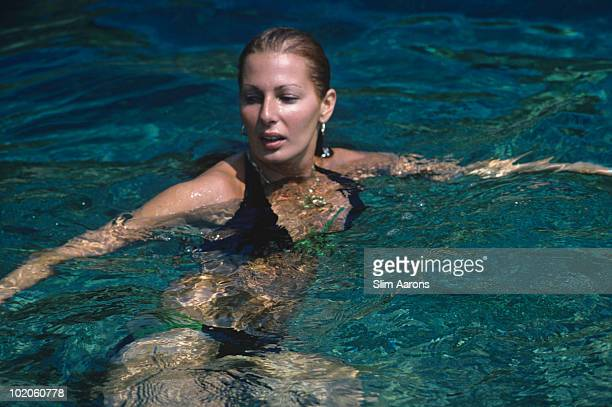 Domino Angeli swimming in SaintTropez on the French Riviera August 1977