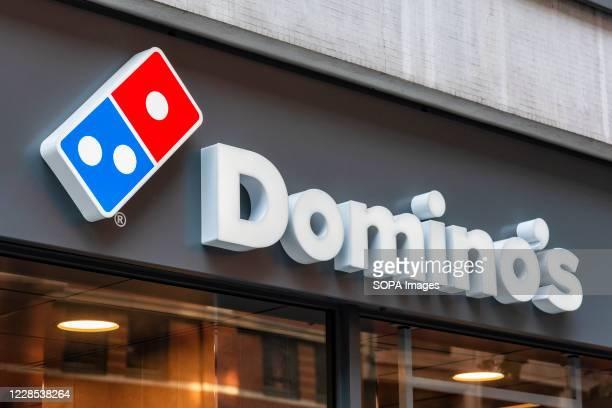 Dominos logo on their shop in High Holborn, London.