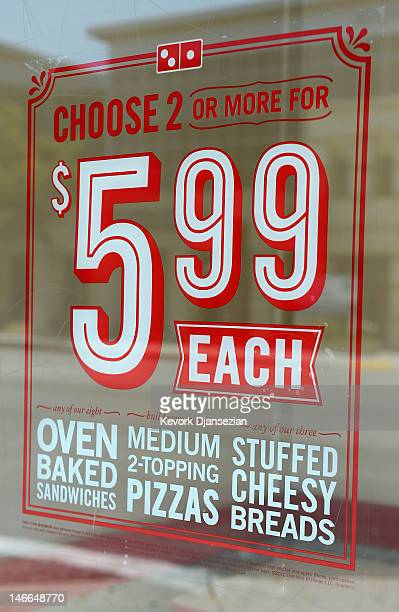 Domino's Pizza restaurant storefront is seen on June 21 2012 in Glendale California A group of pizza chains including Domino's Papa John's Little...