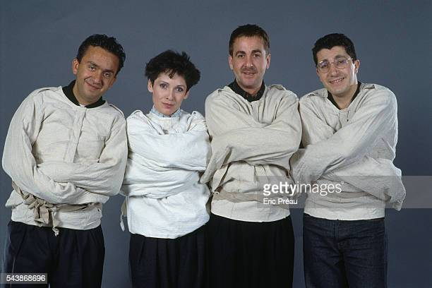 Dominque Farrugia Chantal Lauby Bruno Carette and Alain Chabat members of French comedy troupe 'Les Nuls' on Canal Plus