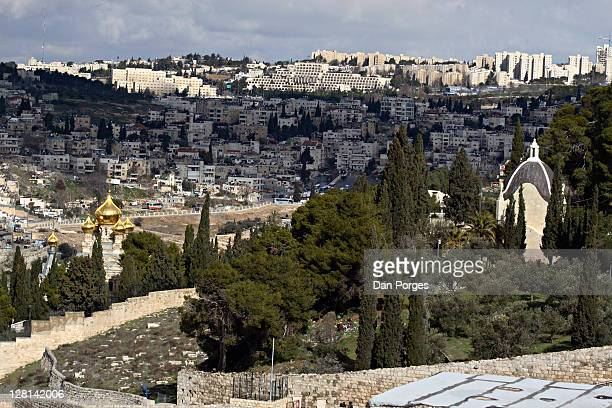 Dominus Flevit and the Russian church of Maria Magdalene near the Garden of Gethsemane on Mount of Olives, Jerusalem Israel.