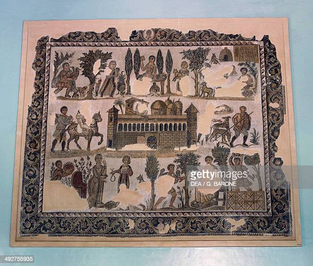 Dominus Julius mosaic from Carthage depicting the daily life in the countryside residence Roman civilization 4th century AD Tunis Musée National Du...