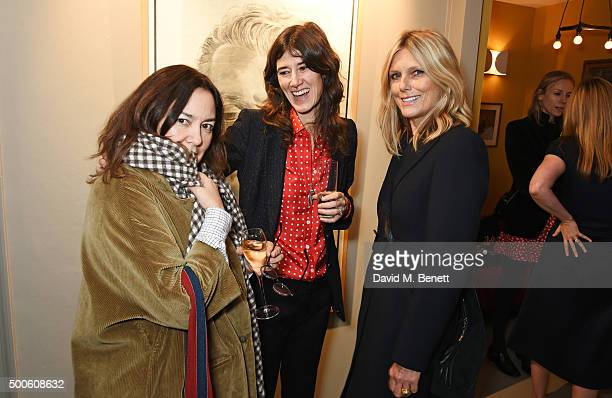 Domitilla Harding Bella Freud and Patti Hansen attend the Bella Freud store launch in Marylebone on December 9 2015 in London England