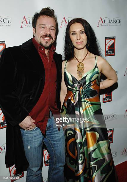Domiziano Arcangeli and Lejla Hadzimuratovic during Jesse Raudales and Terrence Howard Peace for the Children Art Show at PounderKone Artspace in...