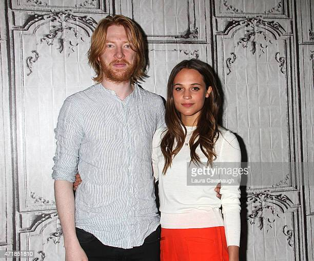 """Domnhall Gleeson and Alicia Vikander attend the AOL BUILD Speaker Series to discuss the film """"Ex Machina"""" at AOL Studios on May 1, 2015 in New York..."""