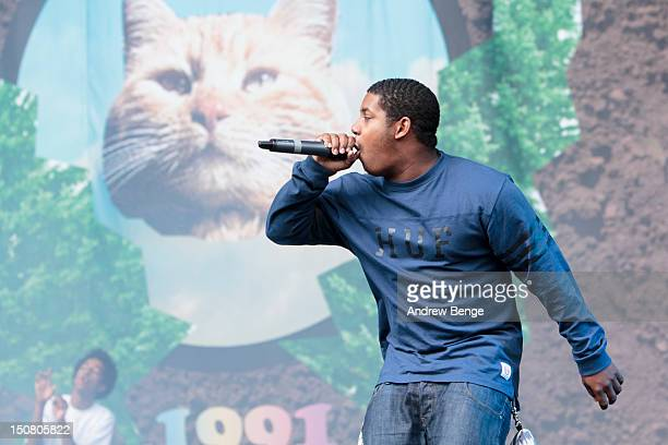 Domo Genesis of Odd Future performs on stage during Leeds Festival at Bramham Park on August 26 2012 in Leeds United Kingdom