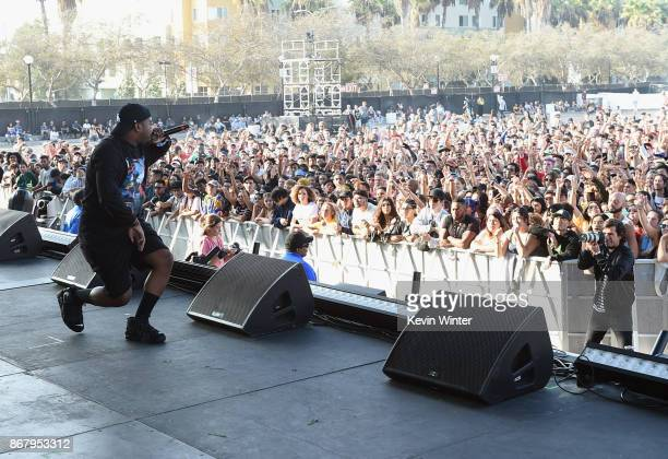 Domo Genesis performs on the Camp Stage during day 2 of Camp Flog Gnaw Carnival 2017 at Exposition Park on October 29 2017 in Los Angeles California