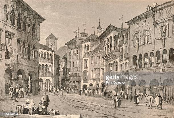 Domodossola' c1830 Domodossola is a city and comune in the Province of VerbanoCusioOssola in Piedmont northern Italy From Sketches by Samuel Prout...