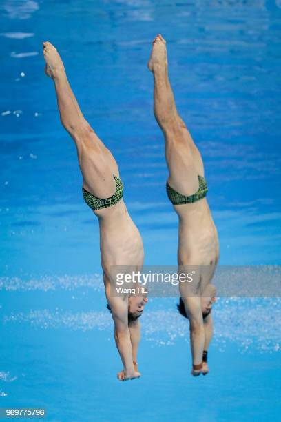 Domonic Bedggood and Declan Staceyof Australia compete in the men's 10m Synchro Springboard final on FINA Diving World Cup 2018 at the Wuhan Sports...