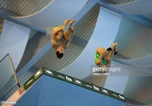 Domonic Bedggood and Melissa Wu of Australia compete in the Mixed 10m Final during the 2017 FINA Diving World Series at the Windsor International...