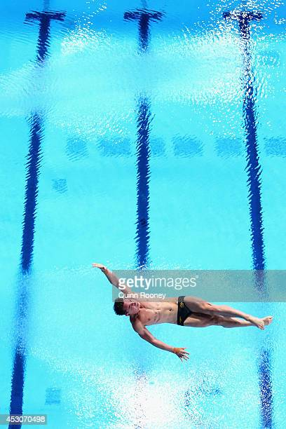 Domonic Bedggood of Australia competes in the Men's 10m Platform Preliminaries at Royal Commonwealth Pool during day ten of the Glasgow 2014...